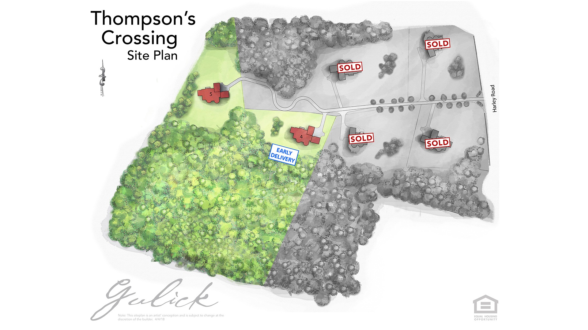 Thompson's Crossing Site Plan - showing sold lots
