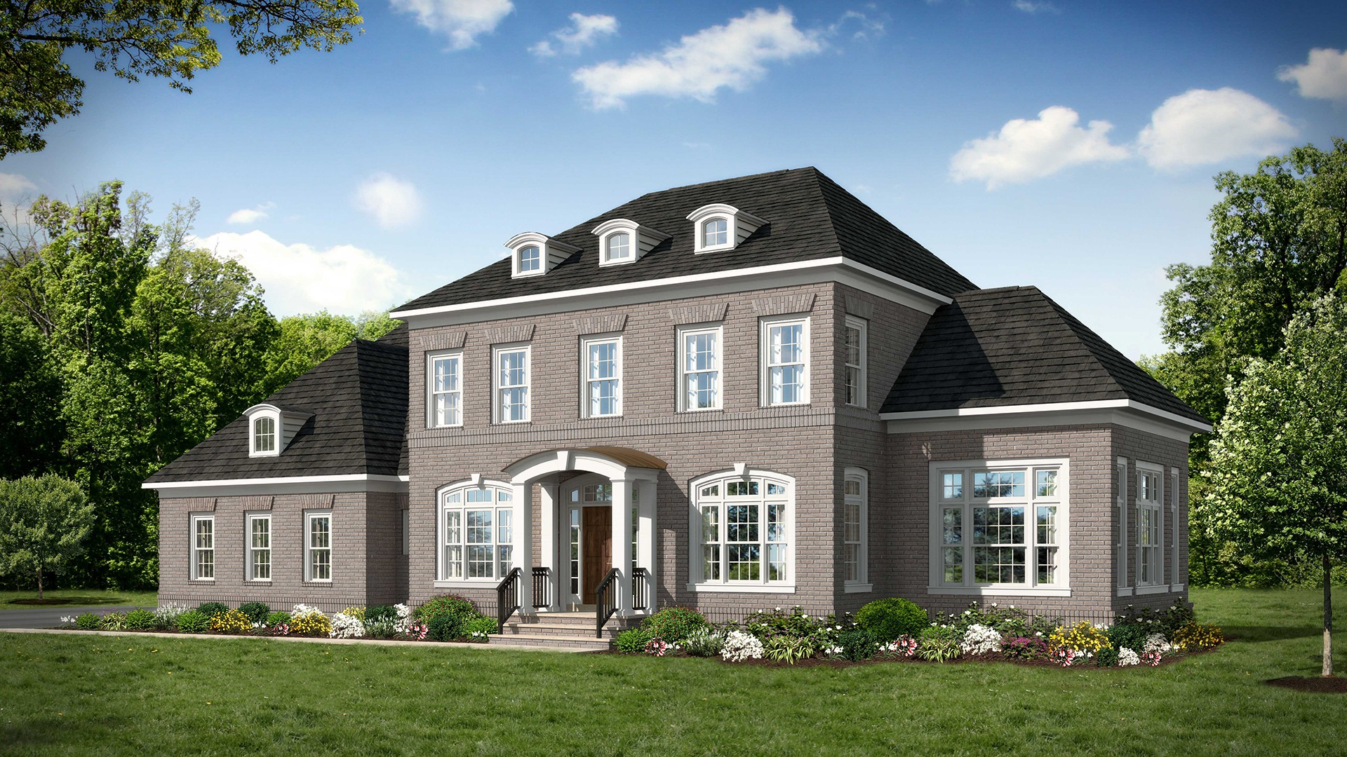 Ashcroft - Front Elevation A - Four Sides Brick. Some optional features shown.