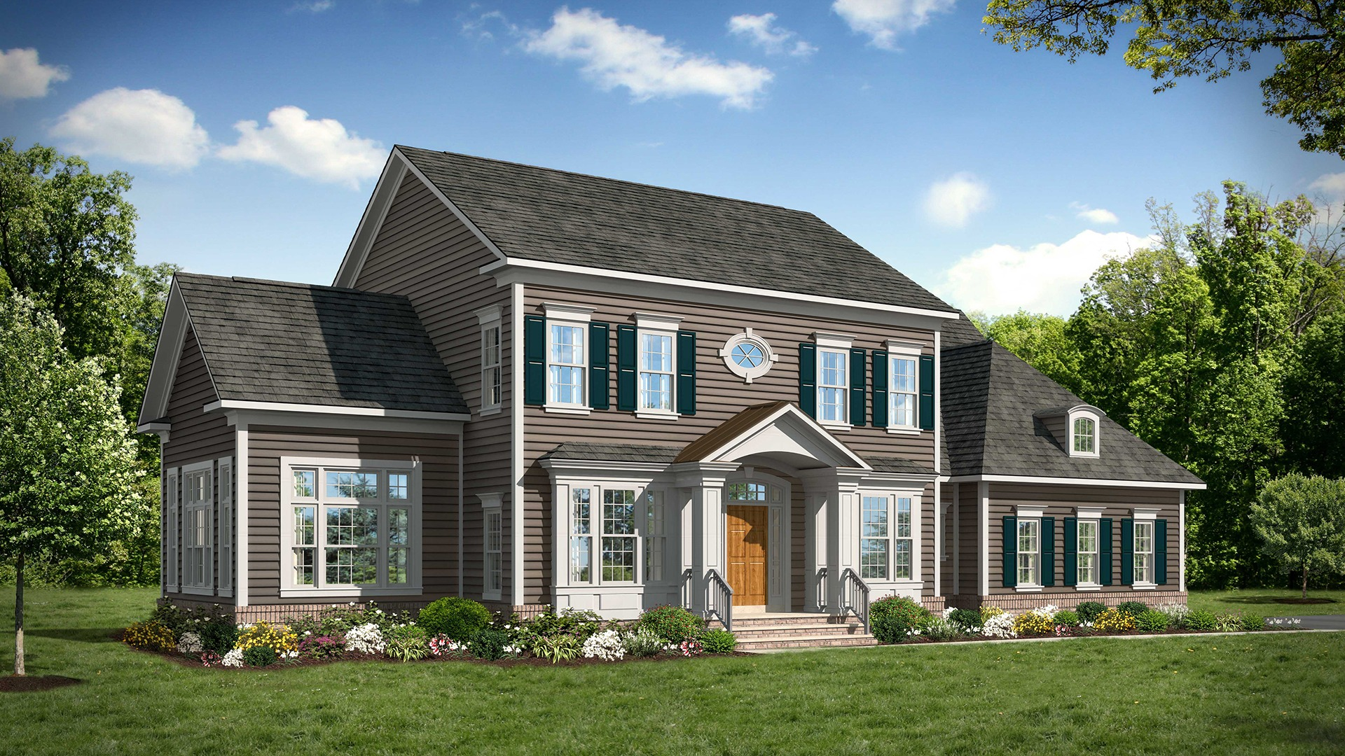 Ashcroft - Standard Elevation - HardiePlank® and Brick. Some optional features shown.