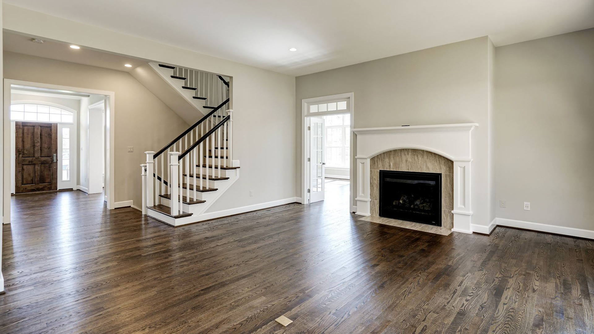 The Family Room in the Grayson on Fallsgate Homesite 4. Some optional features shown.