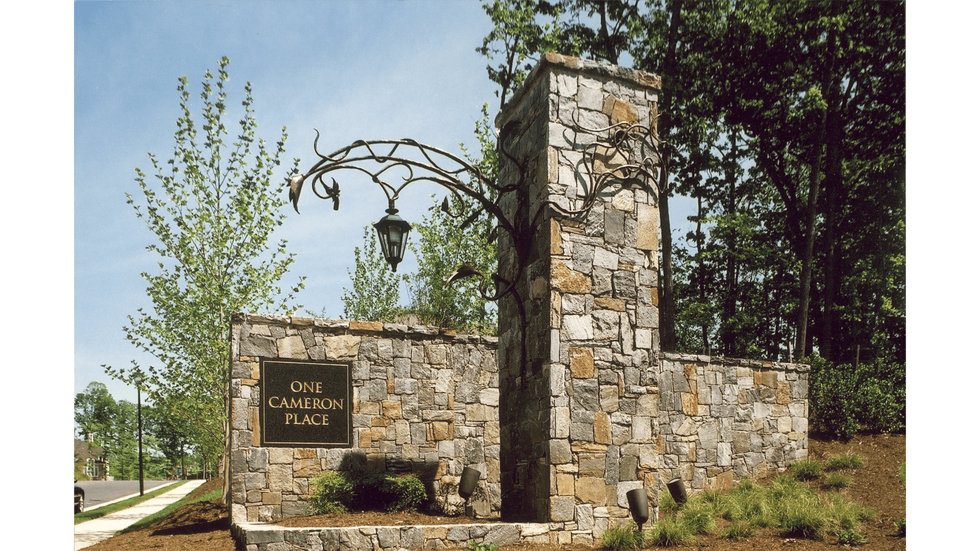 The entrance feature at One Cameron Place