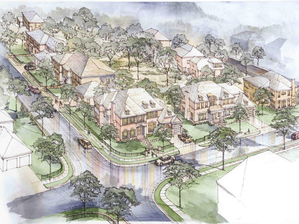 A watercolor rendering of the theming at One Cameron Place