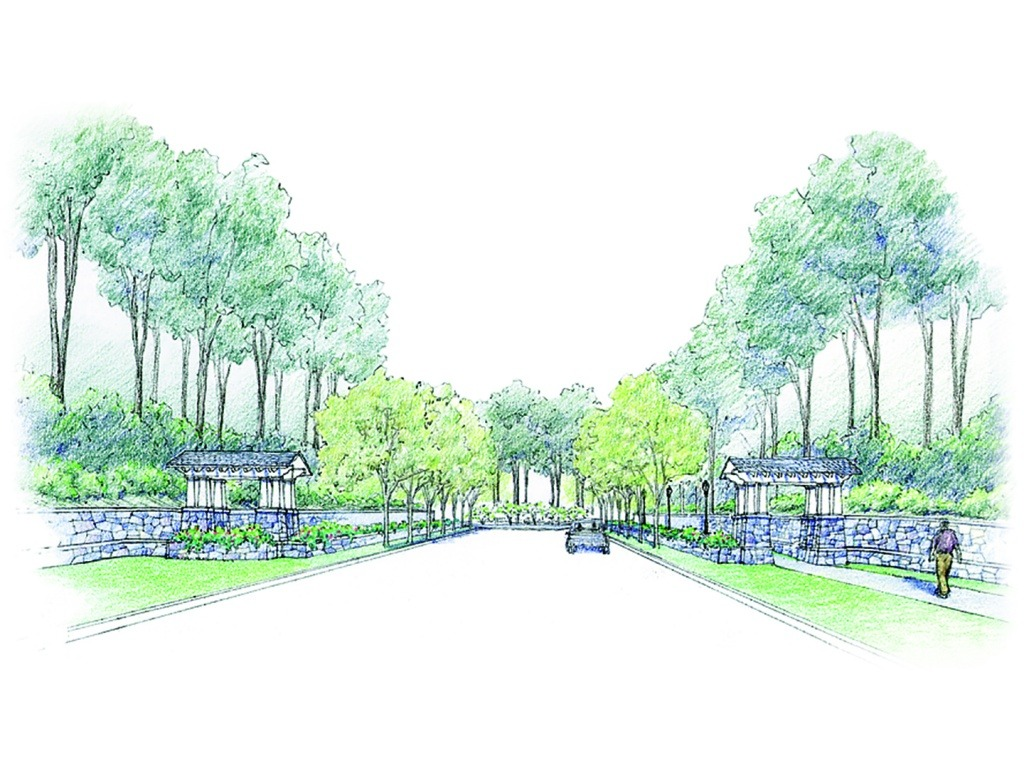 A rendering of the entrance feature at the Reserve at McLean