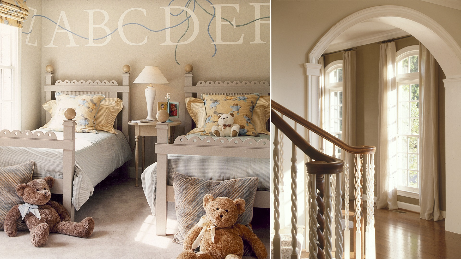The foyer and a secondary bedroom in the Woodley model. Some optional features shown.