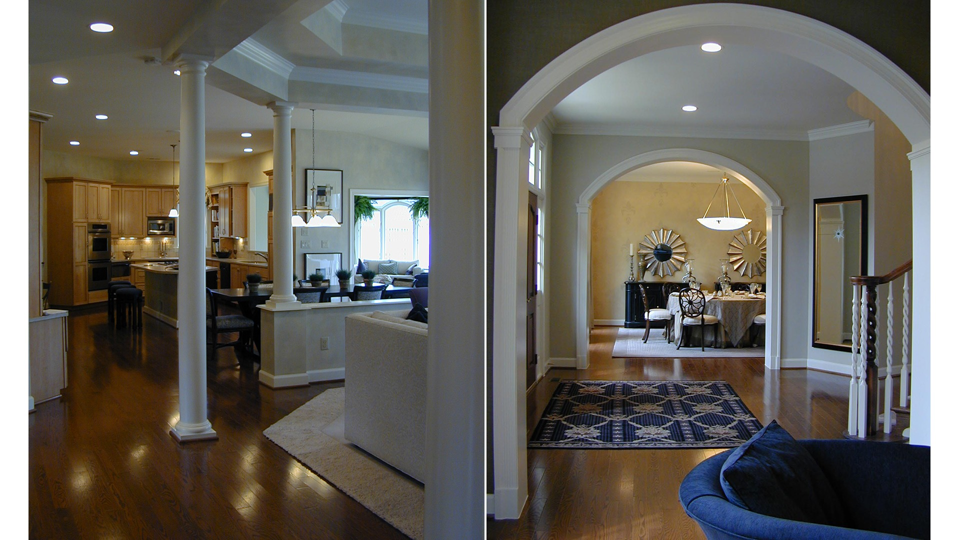 The Kitchen and Foyer in the Woodley model. Some optional features shown.