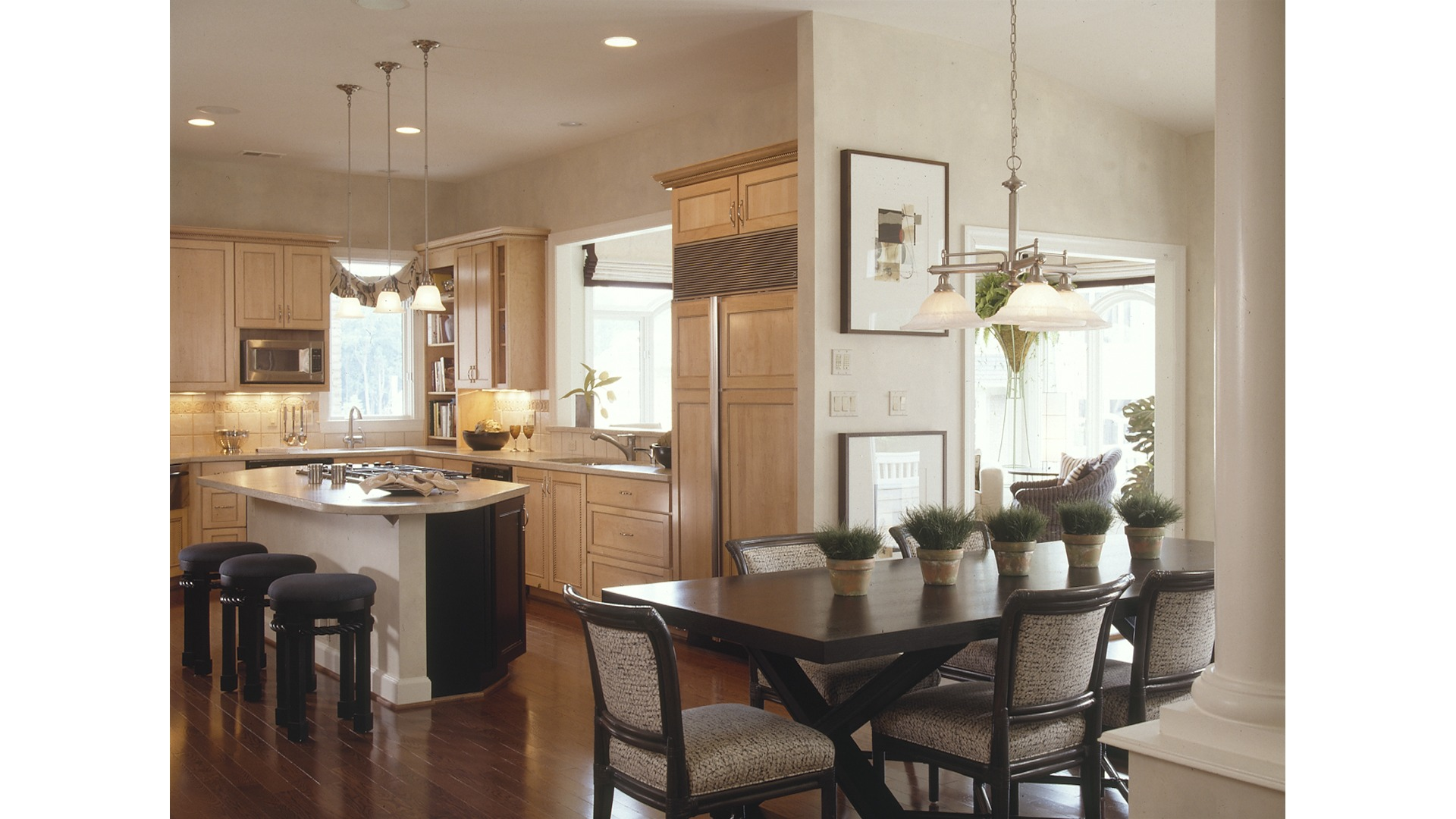 The Kitchen in the Woodley model. Some optional features shown.