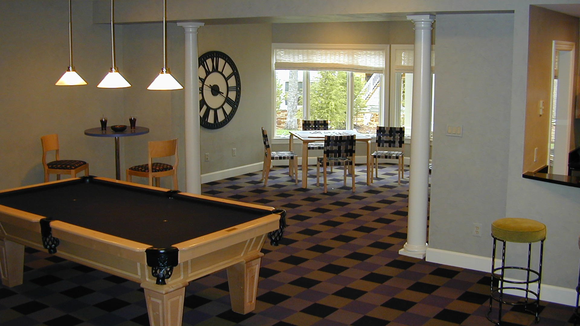 The Recreation Room in the Woodley model. Some optional features shown.