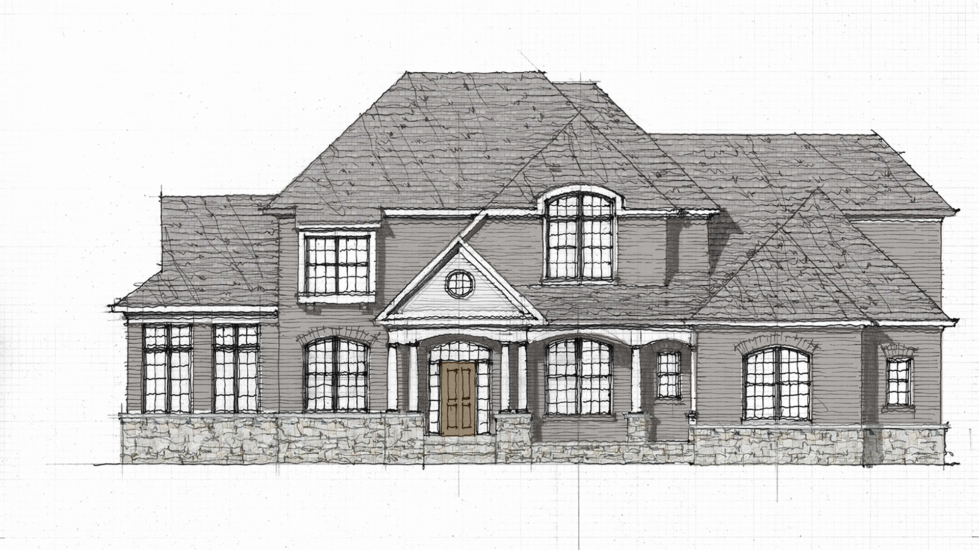 This is a rendering of a color package for the custom elevation designed for the home on Seneca Green Way.