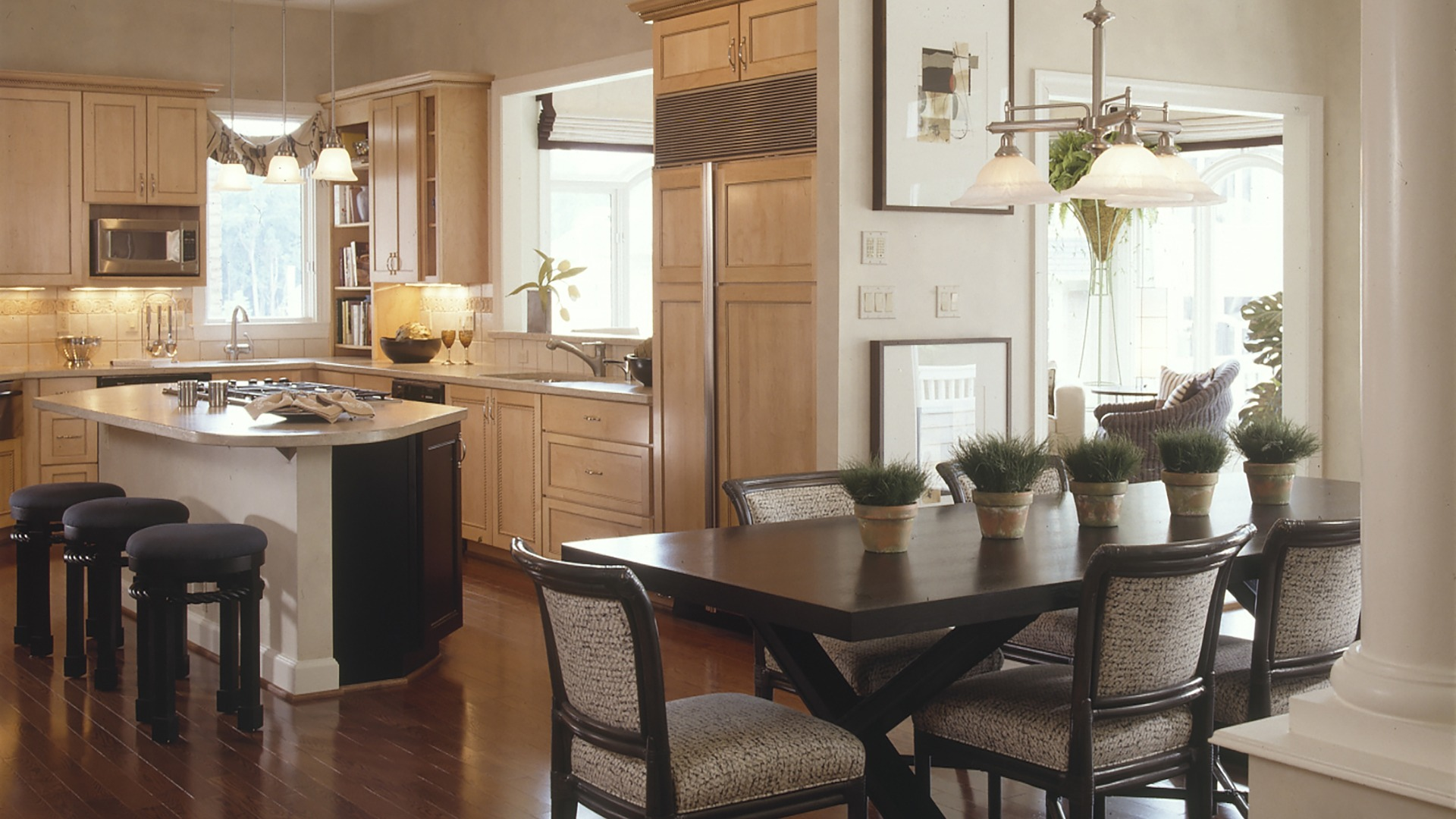 Woodley kitchen. Some optional features shown. Kitchen has design has since been updated.