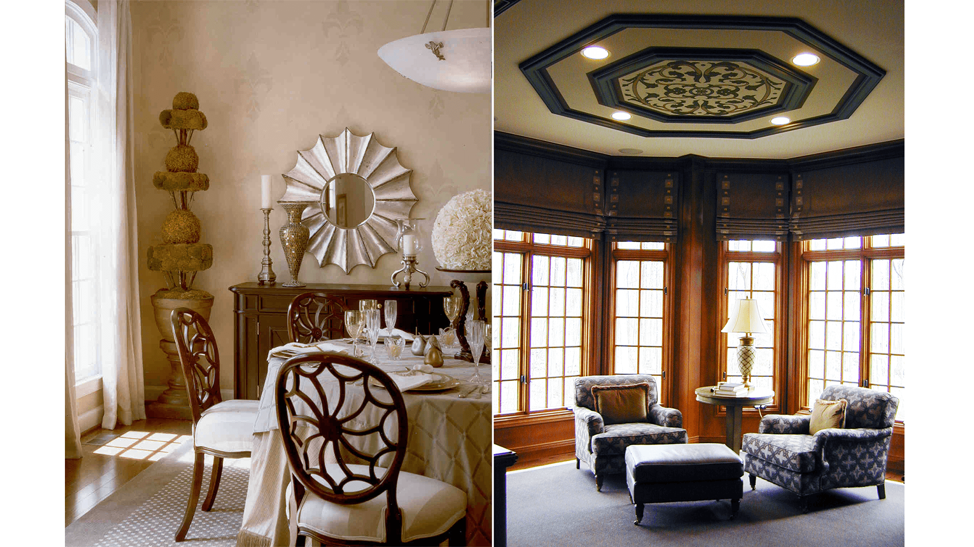 Woodley Dining Room & Library. Some optional features shown.
