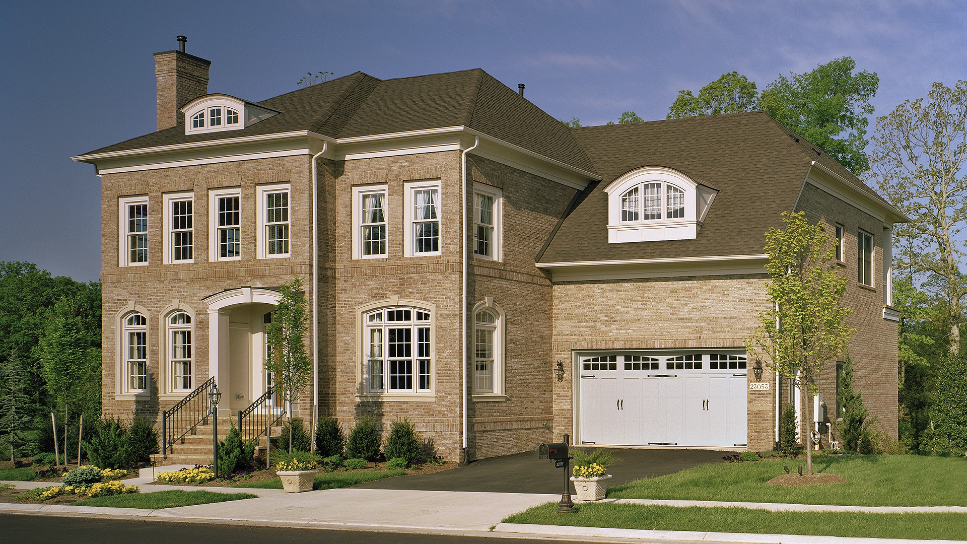 The Front Elevation of the Ashcroft model in Brambleton. Some options shown.