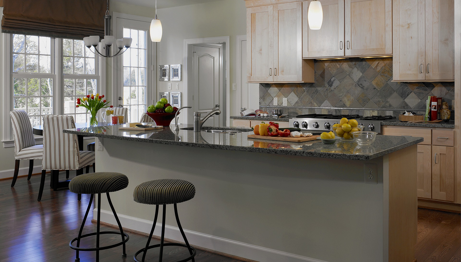 The Kitchen and Morning Room in our Ashcroft model in Brambleton. Some options shown.