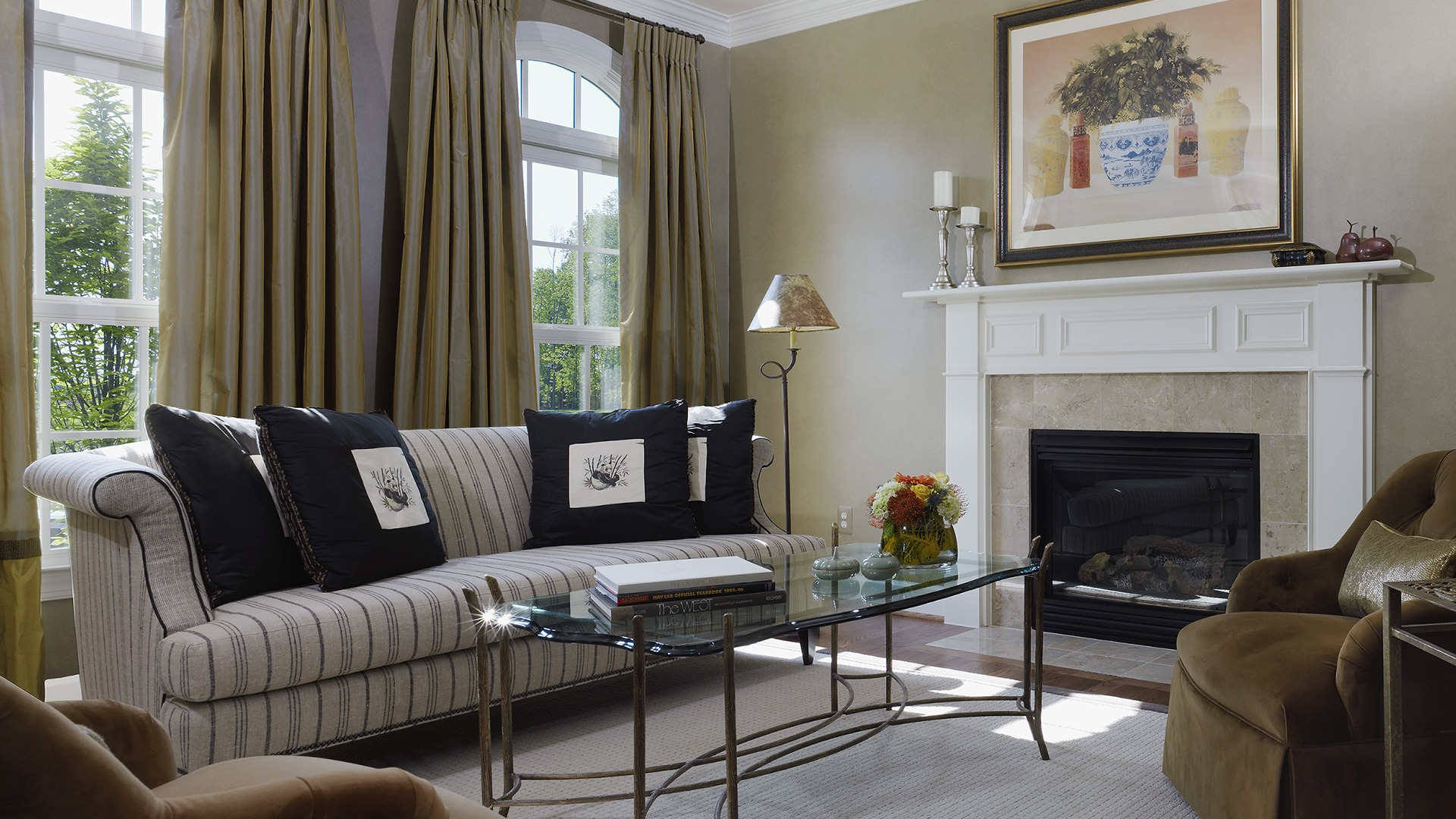 The Living Room in our Ashcroft model in Brambleton. Some options shown.