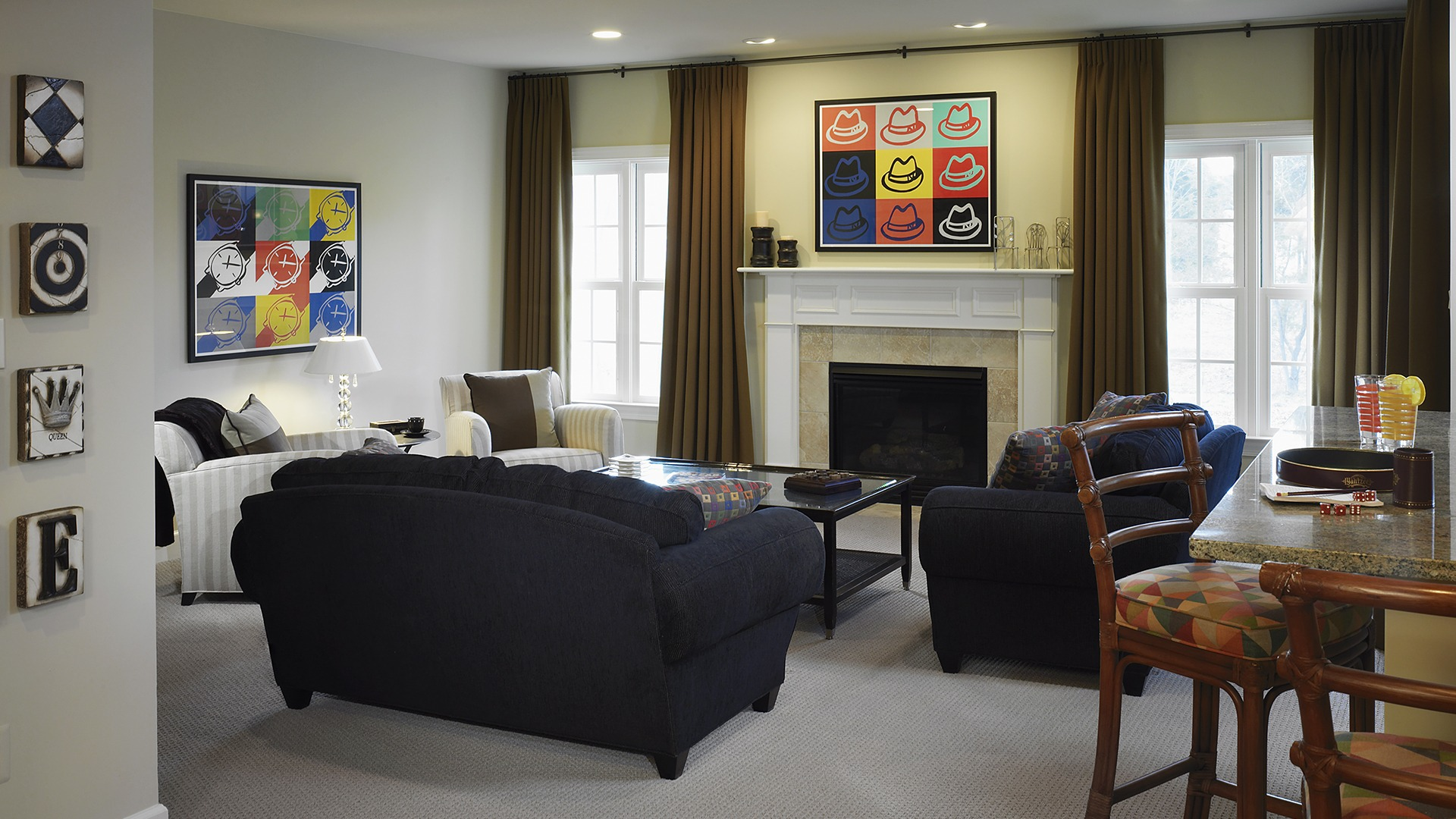 The Recreation Room in our Ashcroft model from Brambleton. Some options shown.