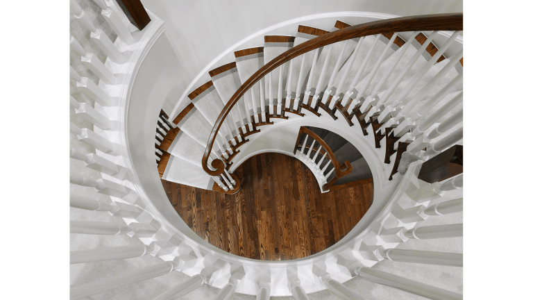 The Foyer Stair in our Ashcroft model from Brambleton. Some options shown.