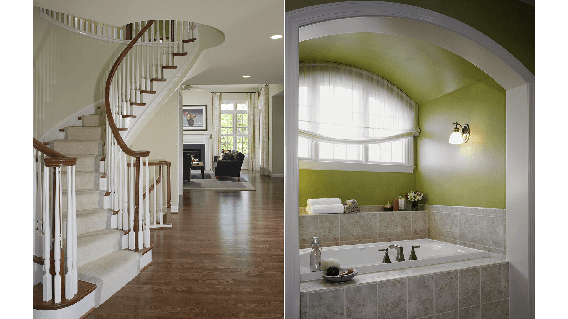 The Foyer Stair and Owner's Bath in our Ashcroft model from Brambleton. Some options shown.
