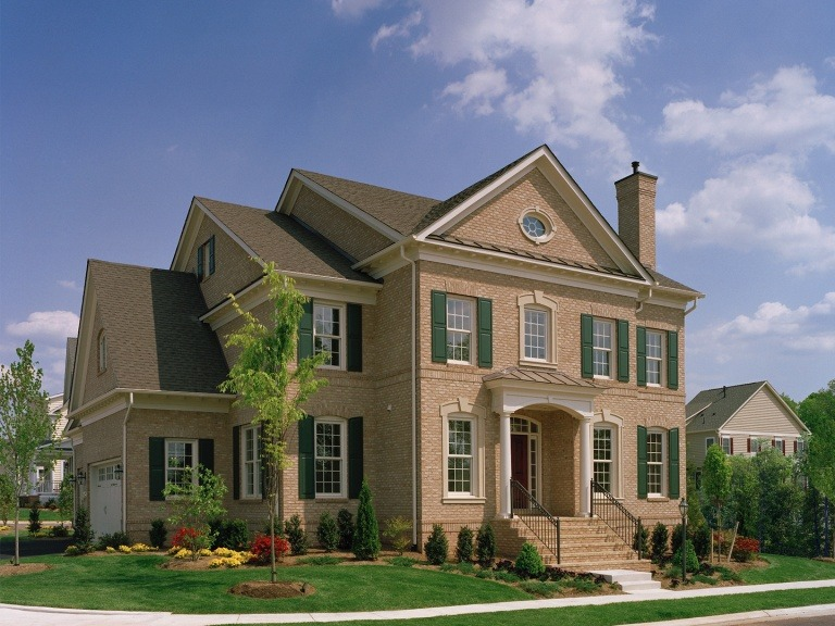 The Front Elevation of the Brentwood model in Brambleton. Some options shown.