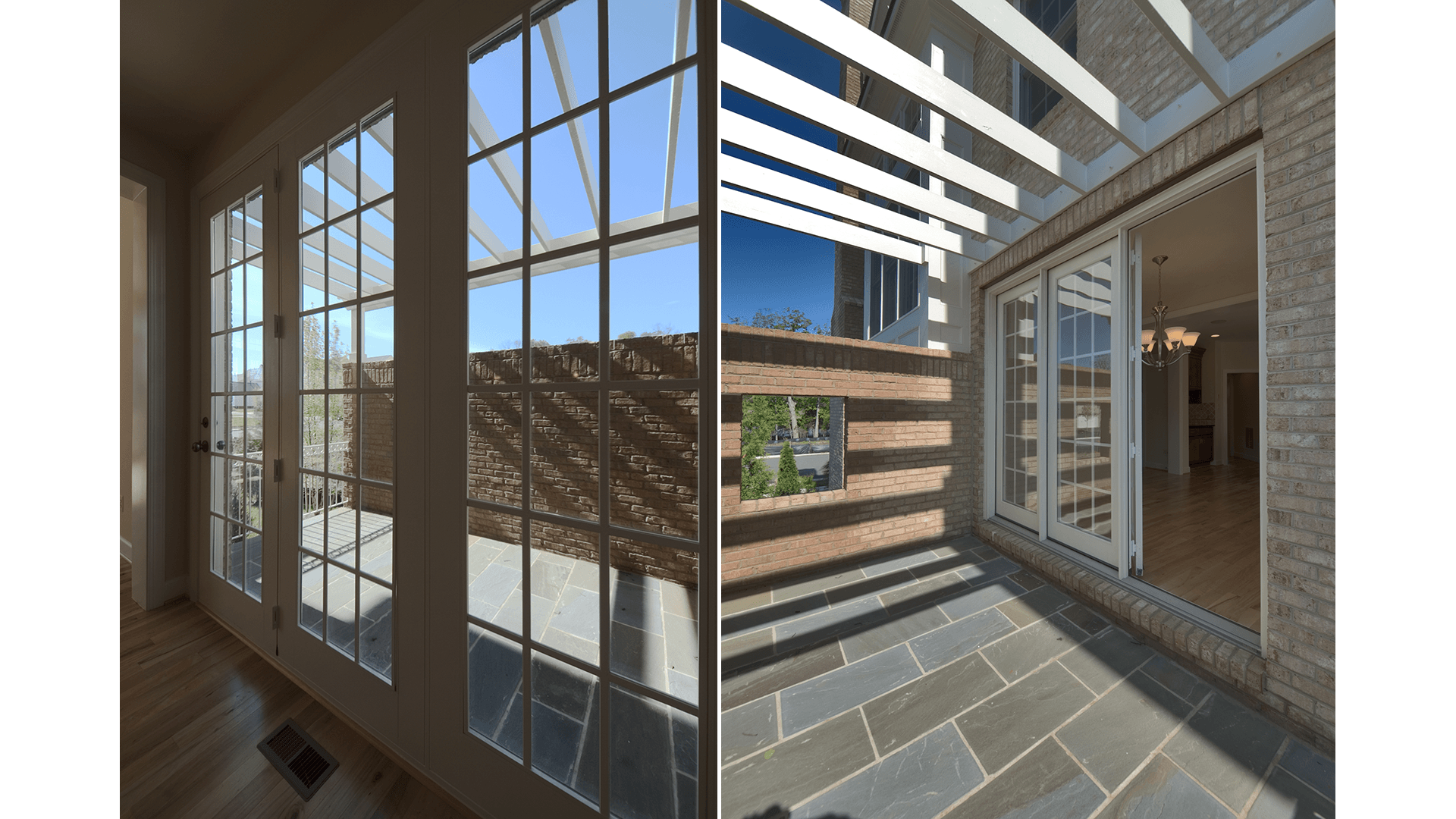 The Courtyard of the Brentwood model in Brambleton. Some options shown.