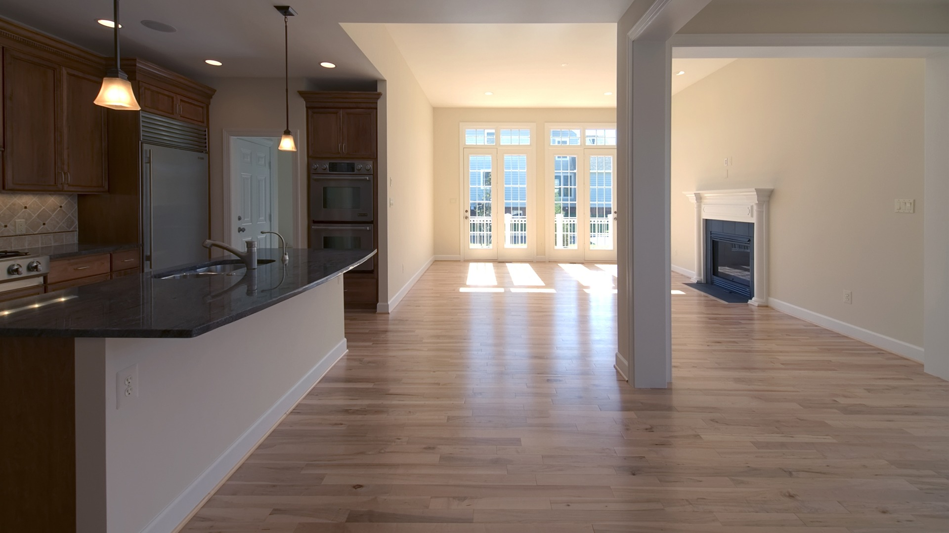 The Morning and Family Rooms in the Brentwood model in Brambleton. Some options shown.