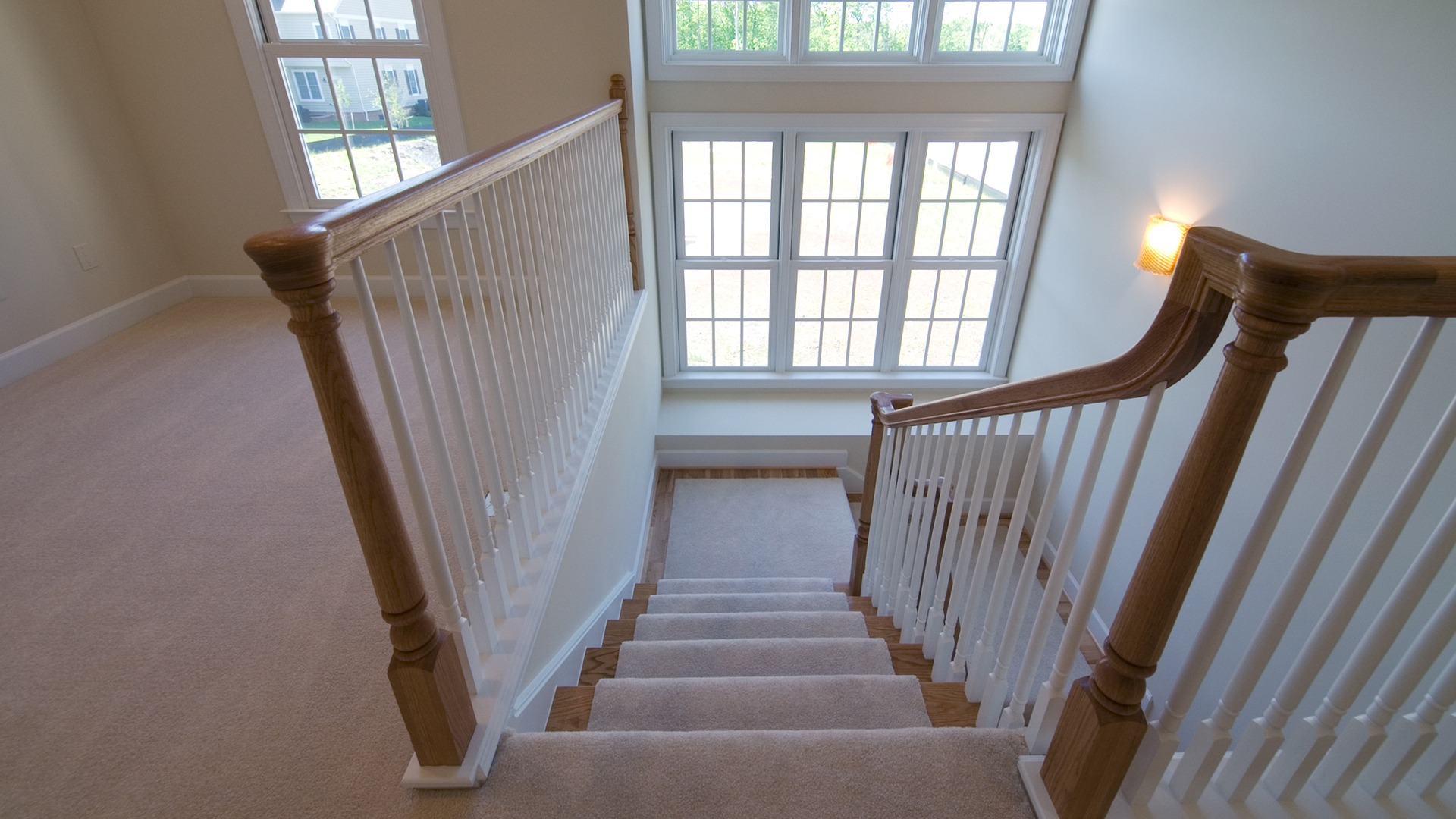 The Main Stair in the Brentwood model in Brambleton. Some options shown.