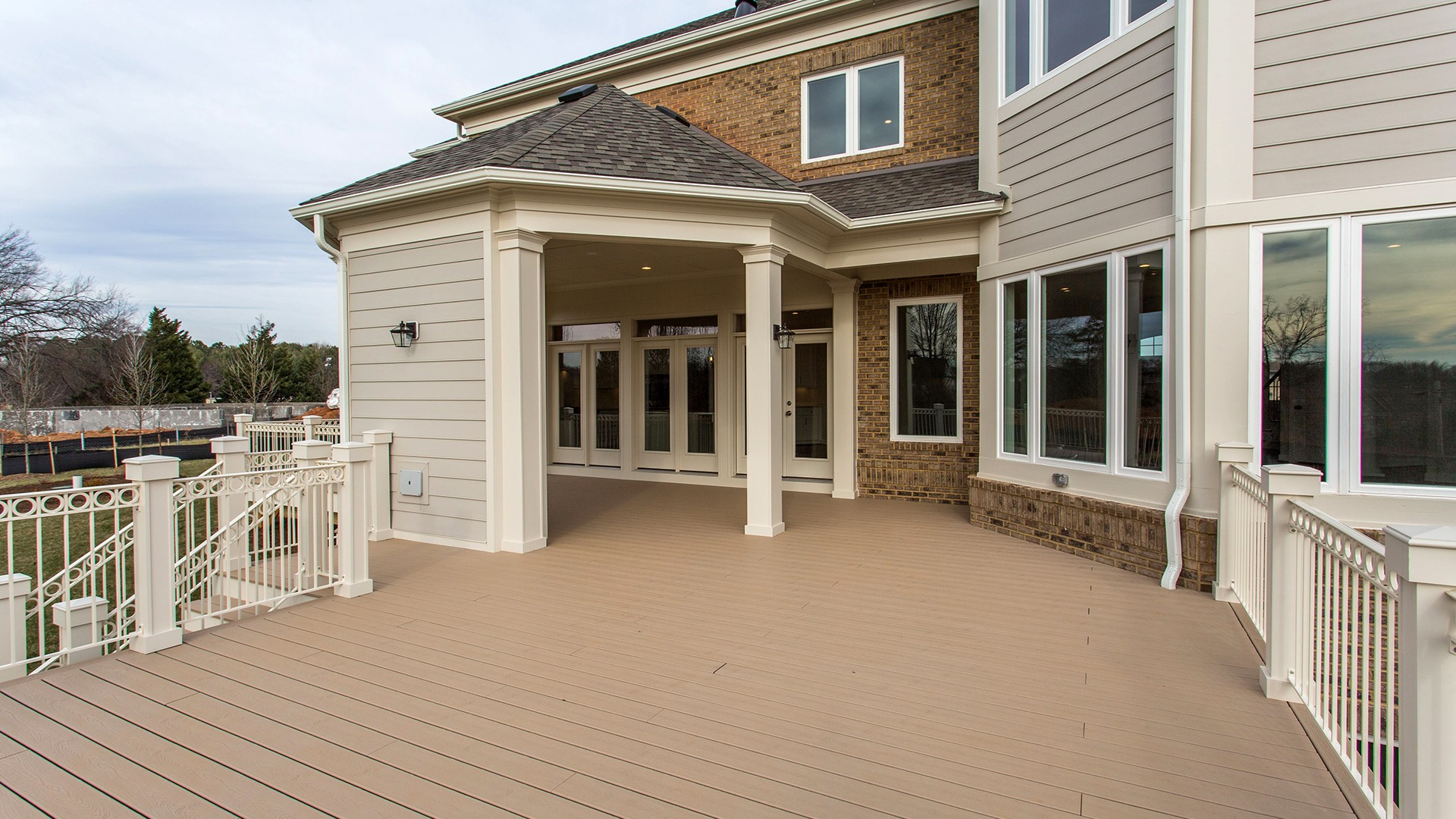 The rear deck of the Winthrop on Fallsgate Homesite 2.