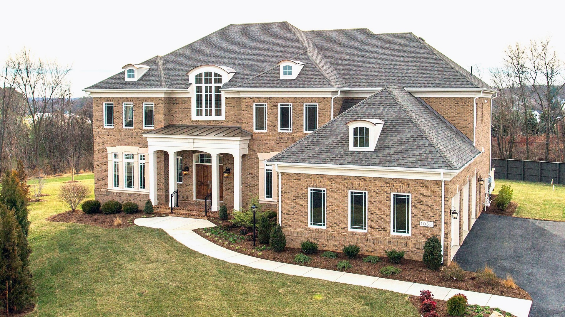 The front elevation of the Winthrop on Fallsgate Homesite 2. Some optional features shown.