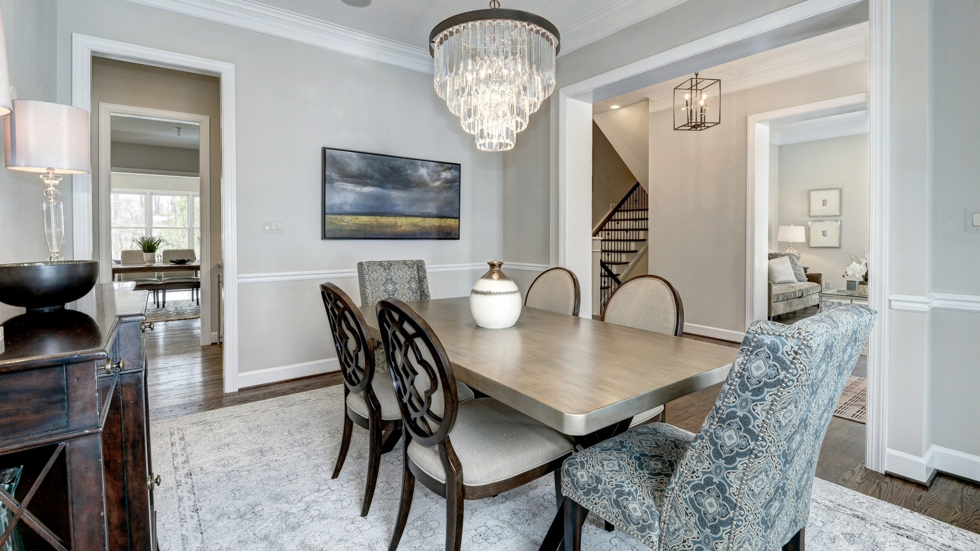 The dining room in a Grayson former model home, which may vary somewhat from the home planned at Vale Crest Homesite 5. Some optional features shown. Please see sales manager for details.