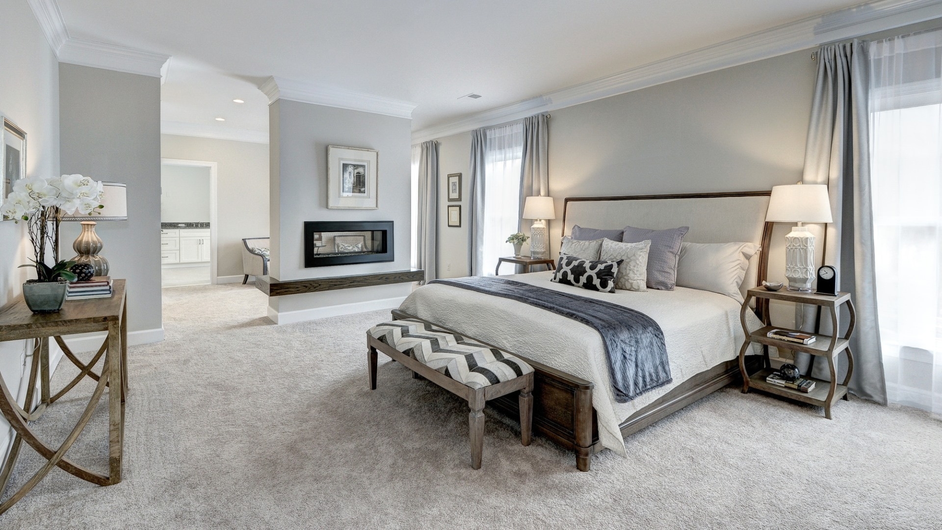 The owner's suite in a Grayson former model home, which may vary somewhat from the home planned at Vale Crest Homesite 5. Some optional features shown. Please see sales manager for details.