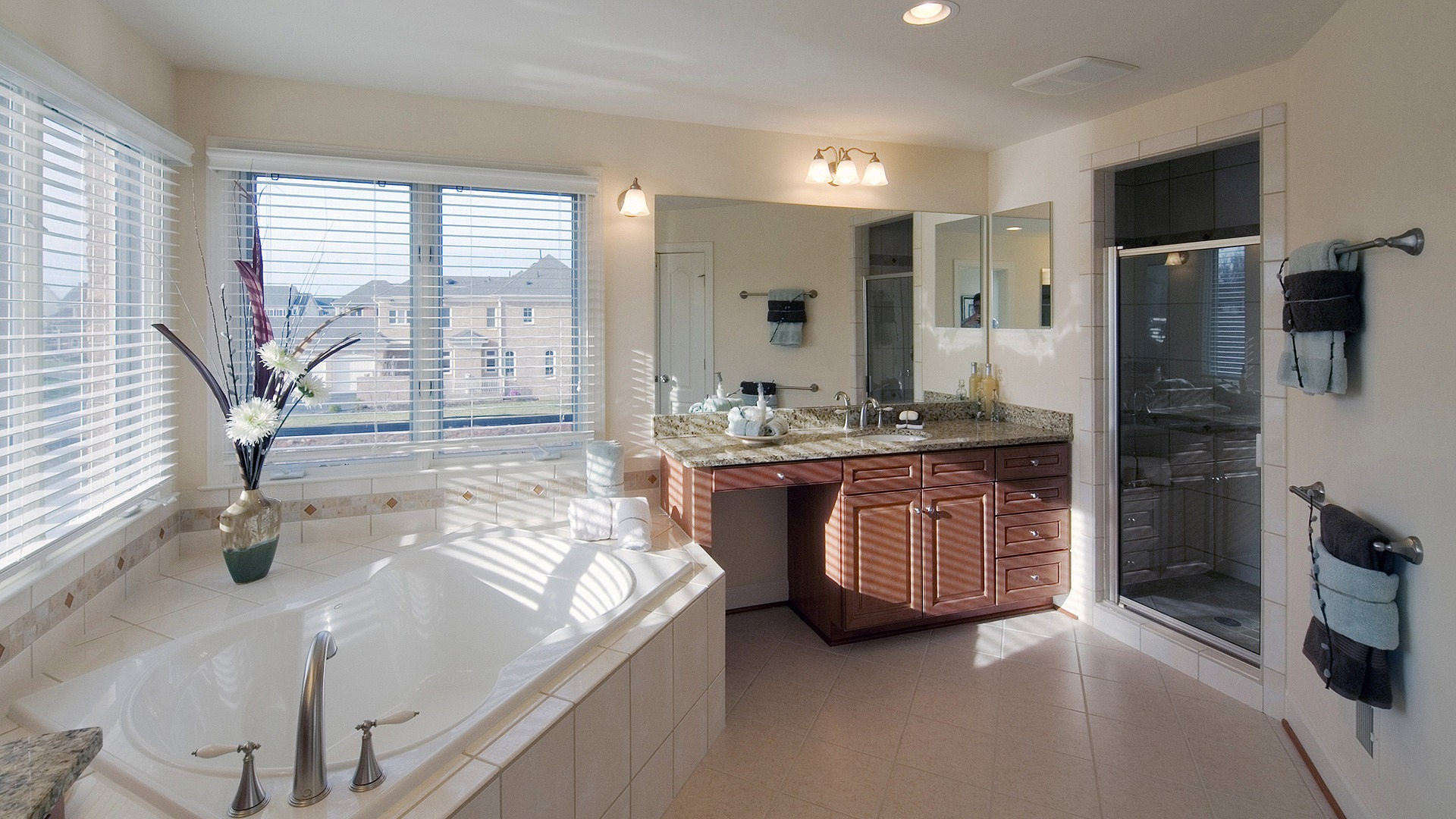 The Owner's Bath in the Hampton model in Brambleton. Some options shown.