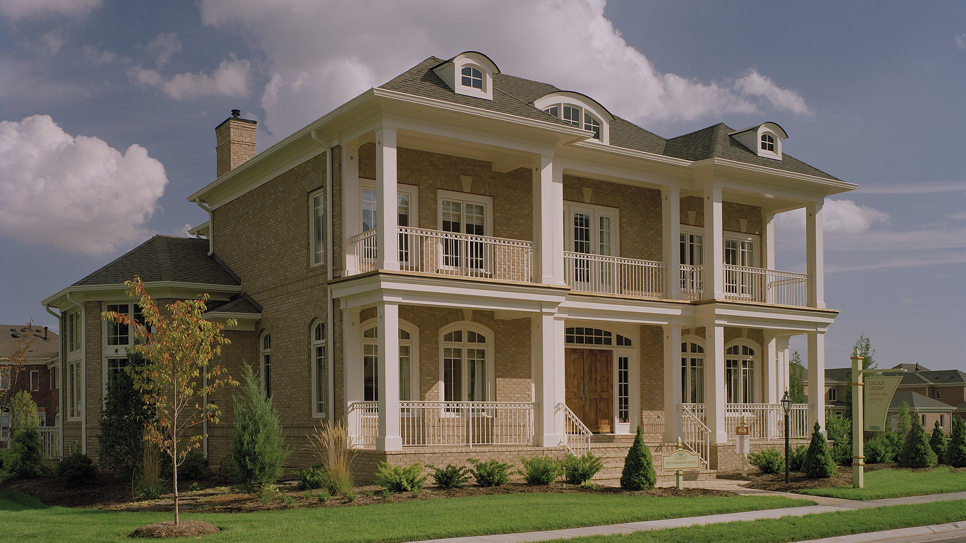 The Front Elevation of the Townsend model in Brambleton. Some options shown.