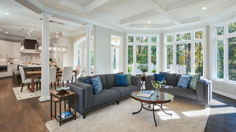 Winthrop Family Room. Some optional features shown shown.