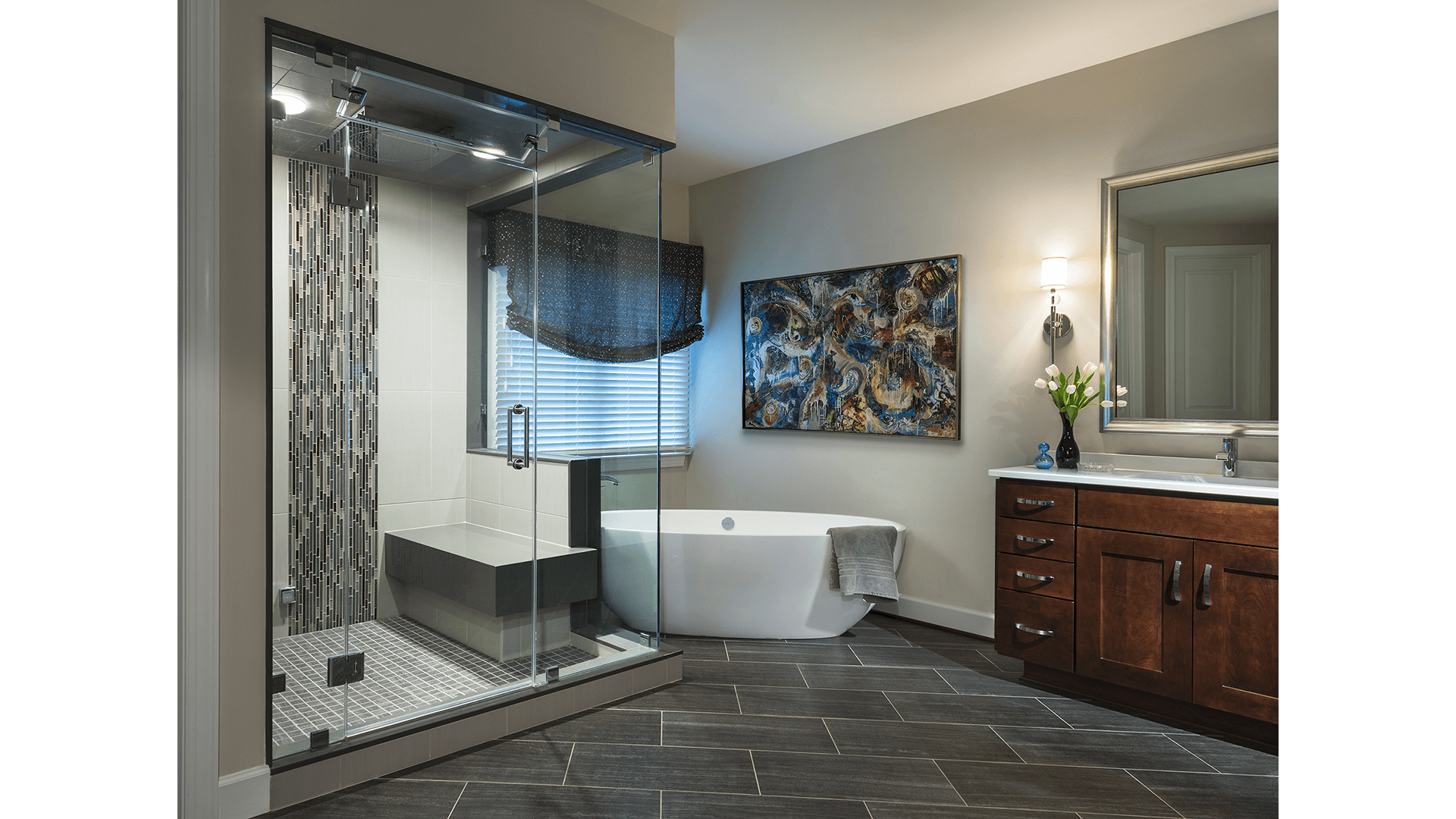 The Owner's Bath with Steam Shower in a Gulick | One home on Innsbruck Avenue. © Hoachlander-Davis Photography. All Rights Reserved. Used with Permission.