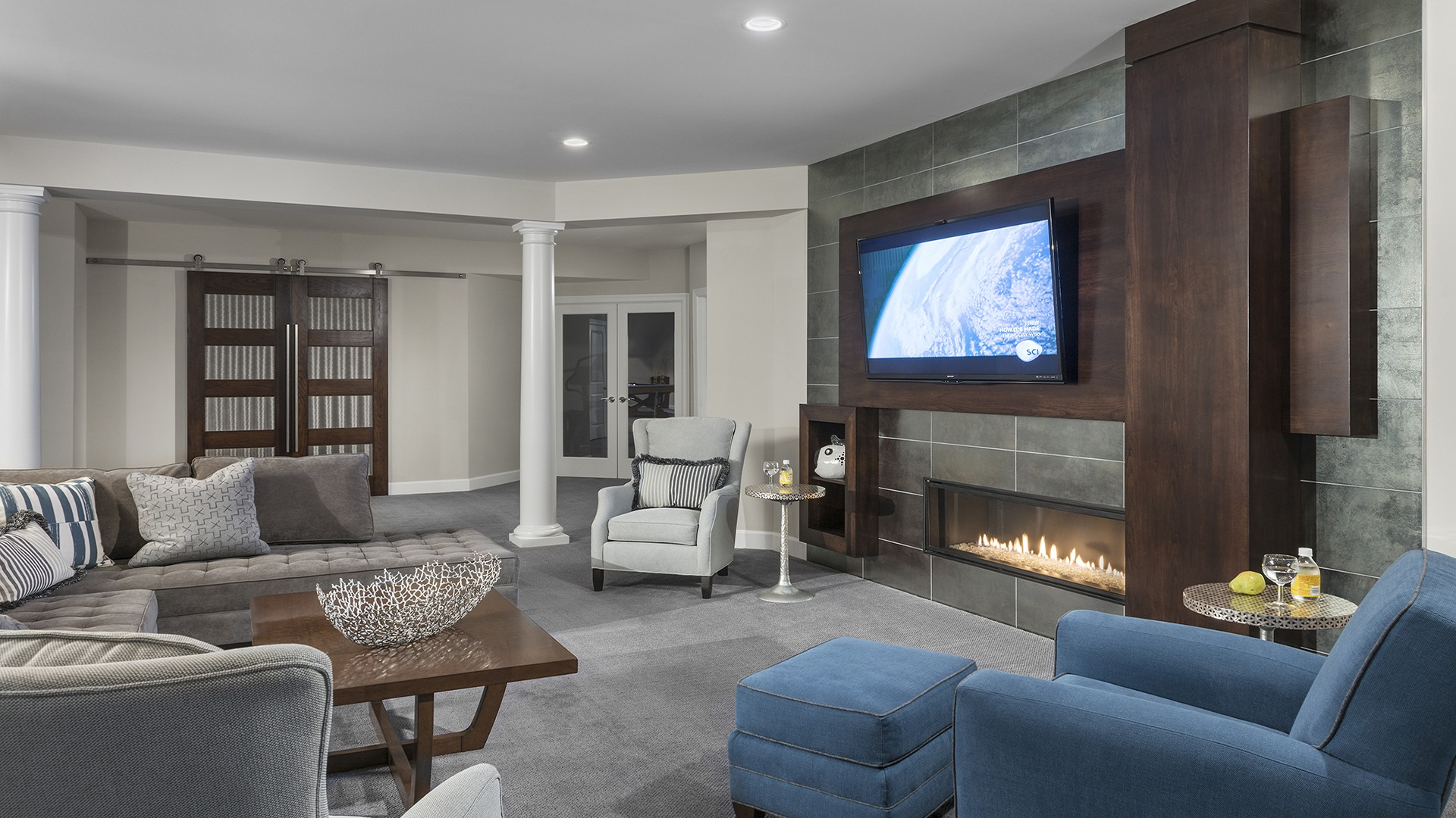 The Recreation Room in a Gulick | One home on Innsbruck Avenue. © Hoachlander-Davis Photography. All Rights Reserved. Used with Permission.