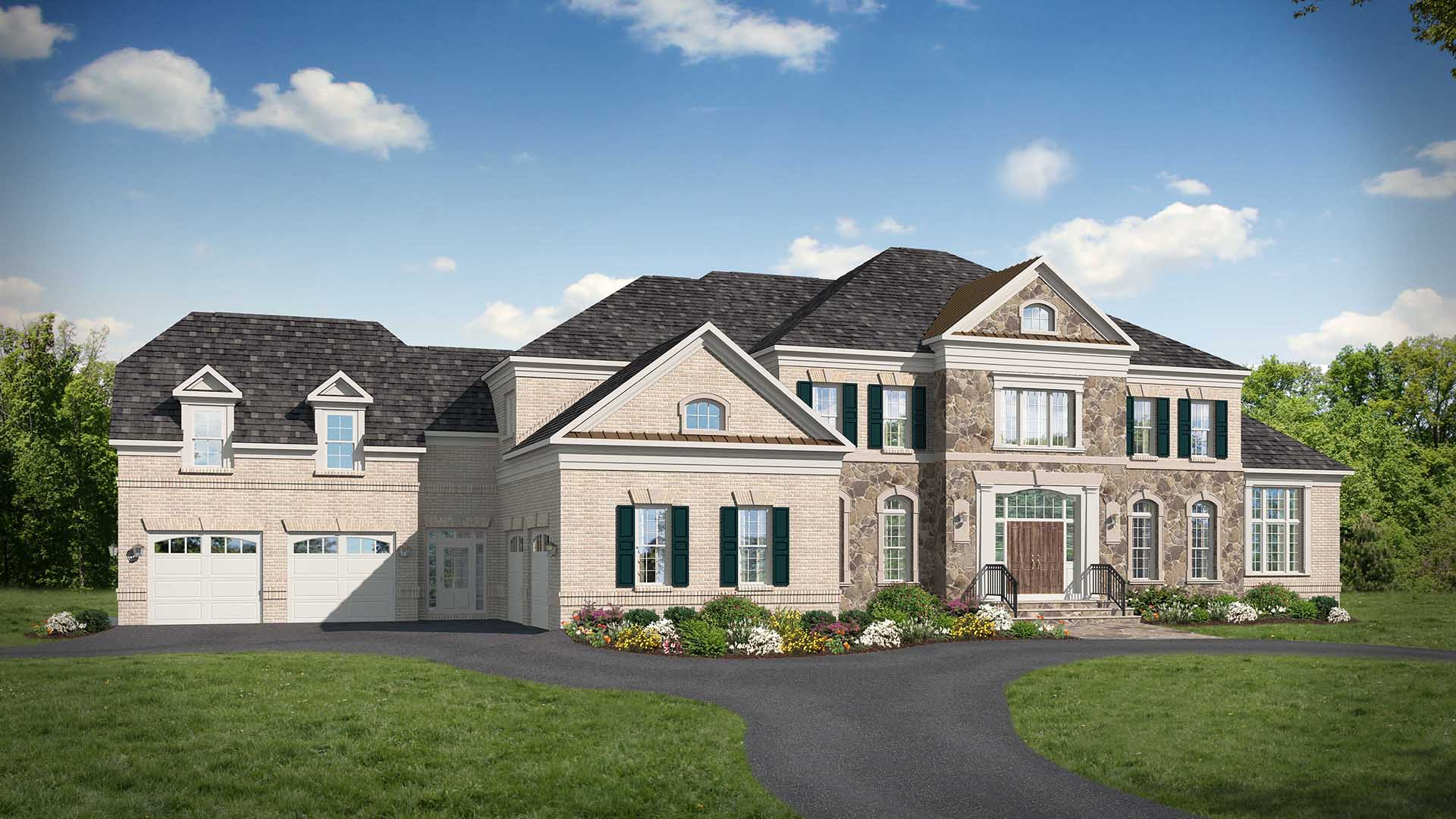 A rendering of the exterior elevation of a Gulick   One home built on Leigh Mill, prior to construction.