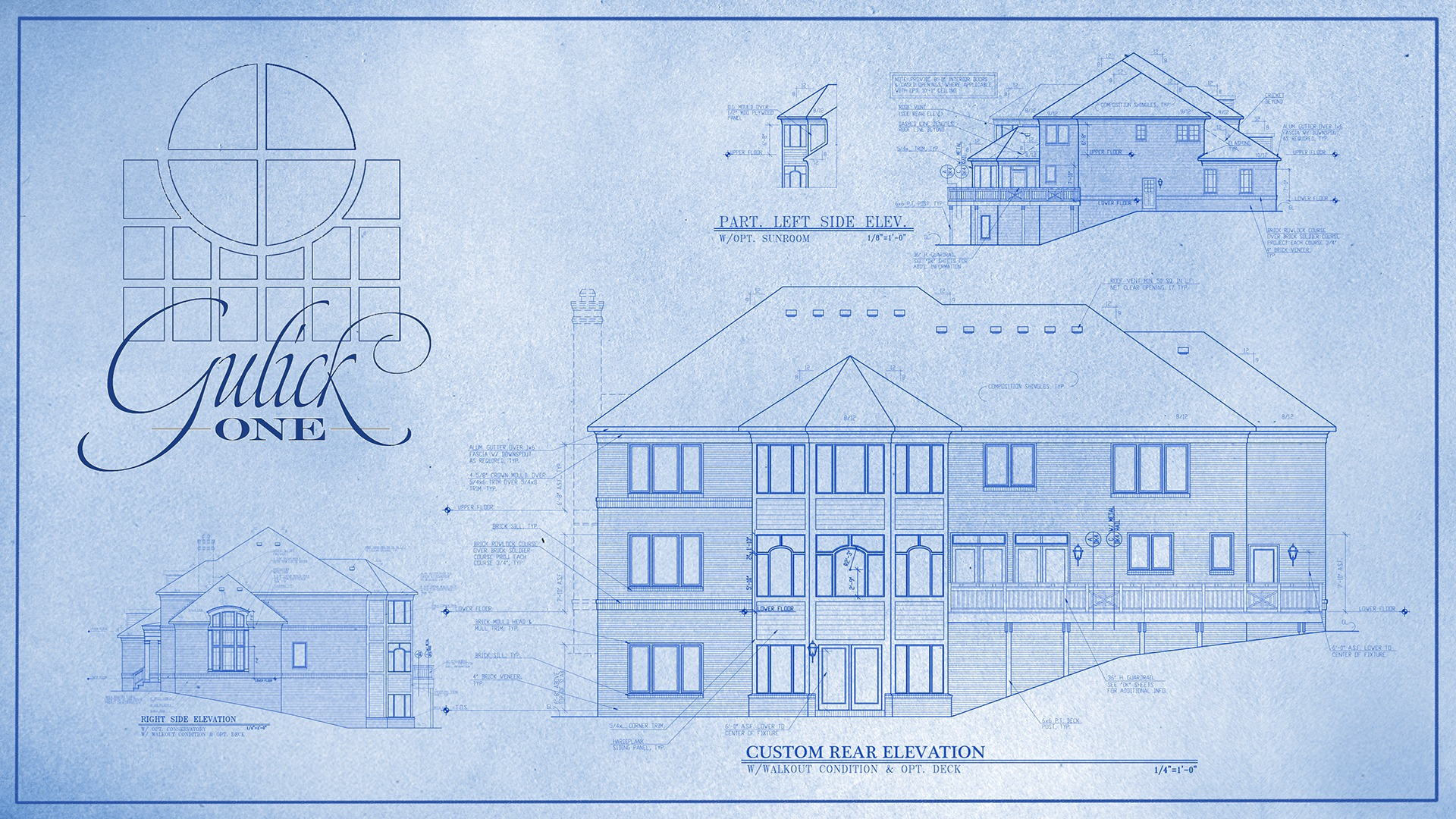 A marketing blueprint of a Gulick | One custom rear elevation.