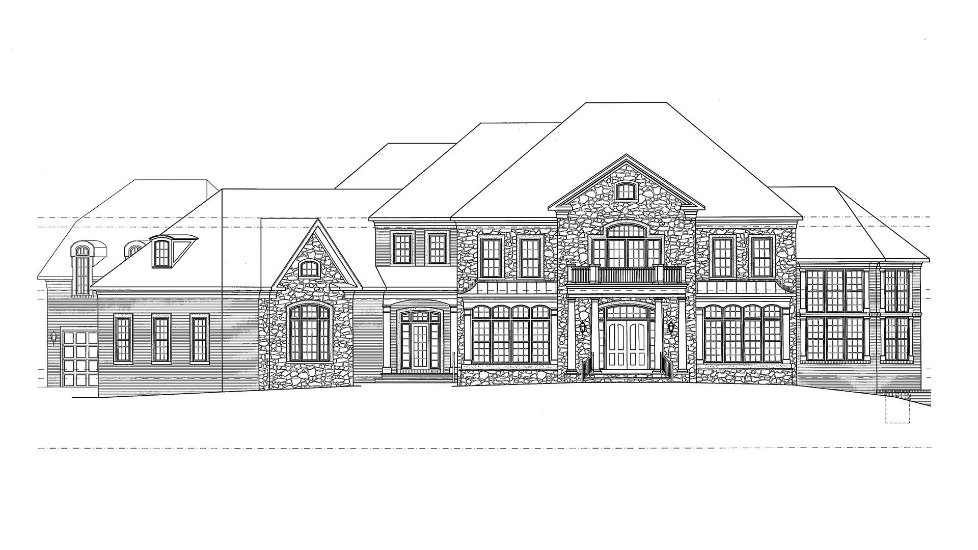 This is the concept front elevation for a Gulick | One custom home in McLean