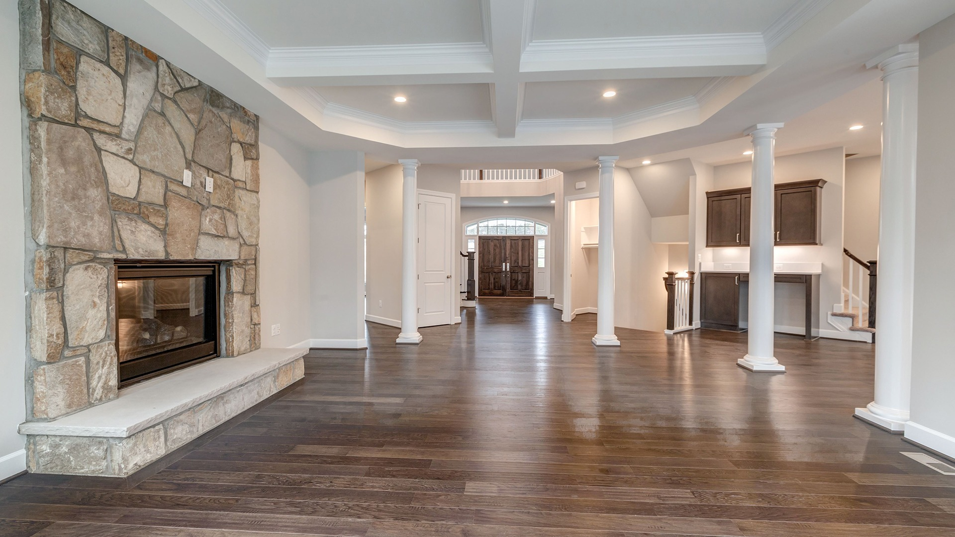 The open Family Room in the Winthrop on Lot 4 at Thompson's Crossing.