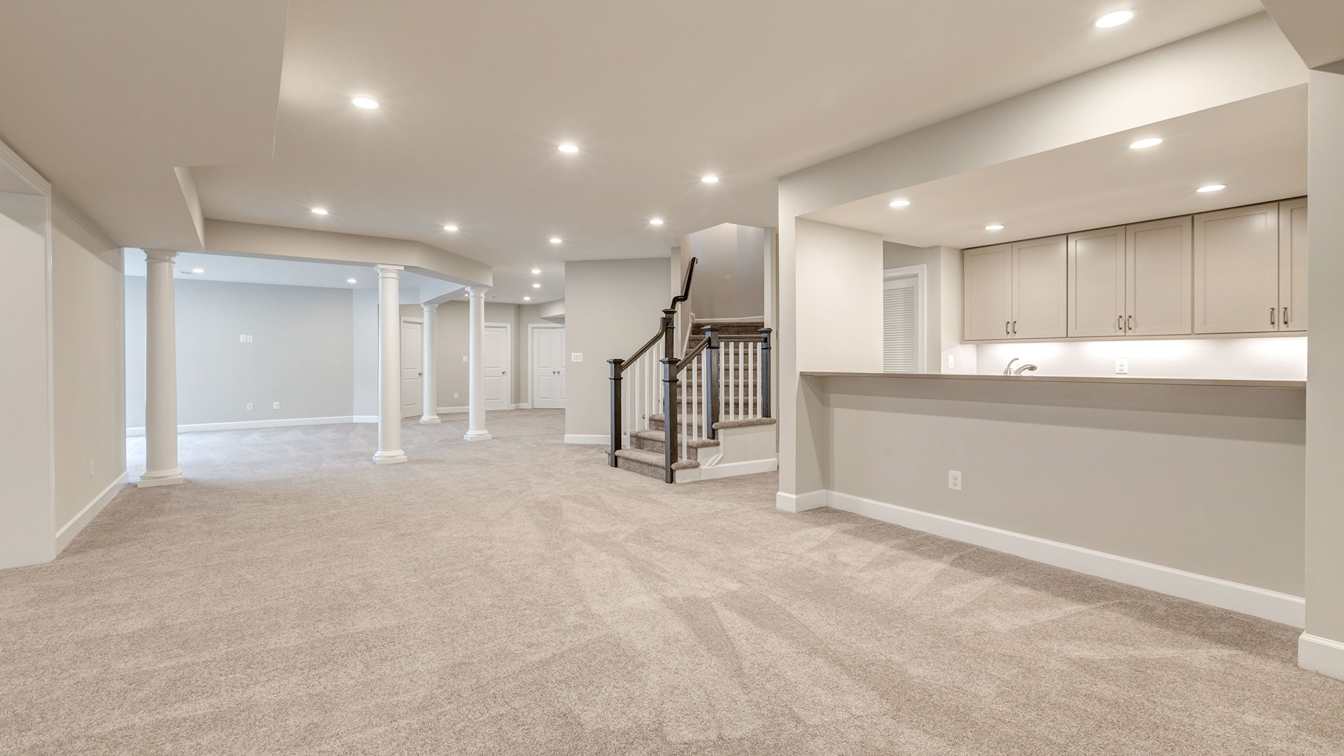 The open, finished Lower Level in the Winthrop on Lot 4 at Thompson's Crossing.