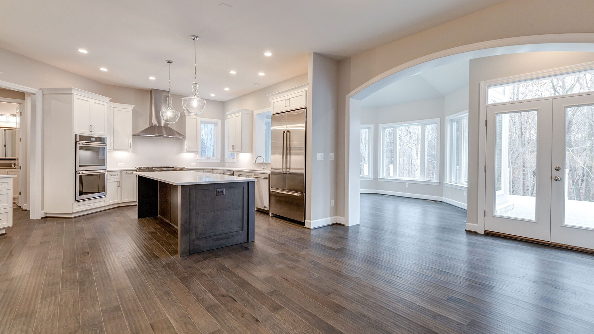 The professional-style Kitchen in the Winthrop on Lot 4 at Thompson's Crossing.