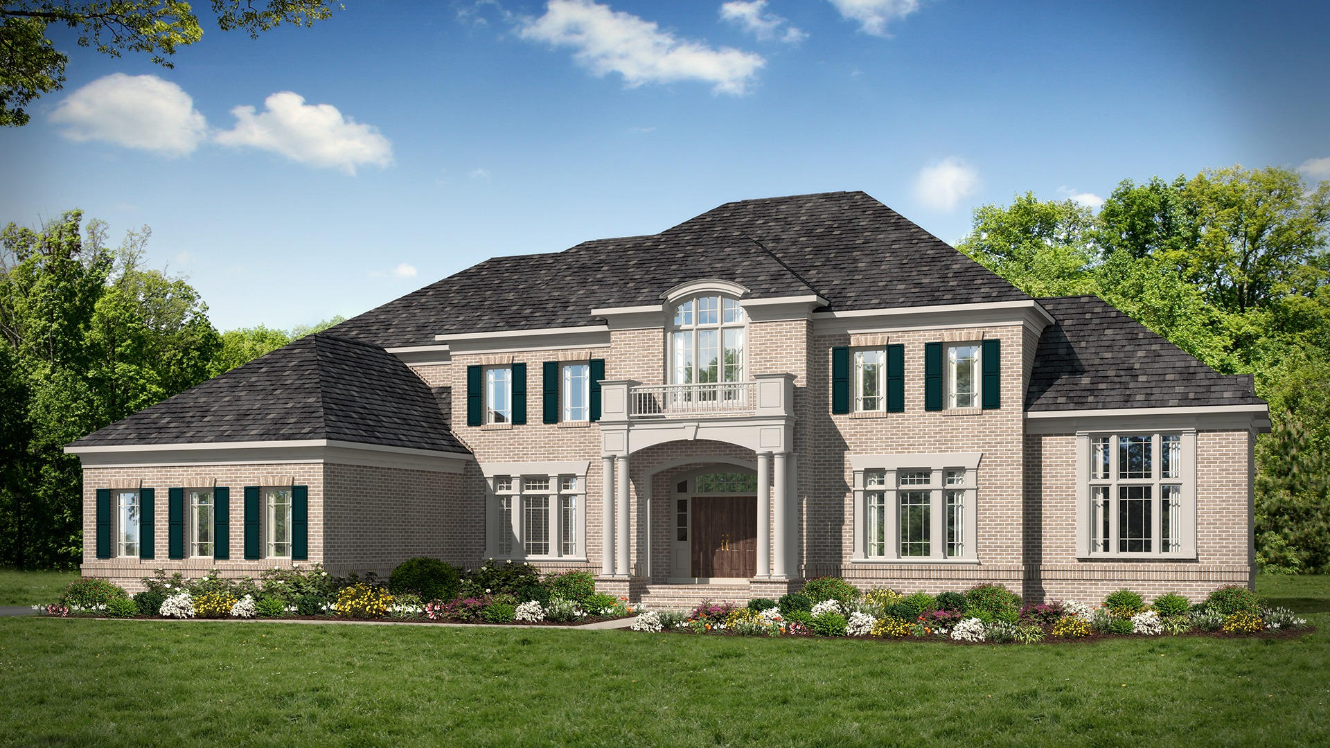 A rendering of a Winthrop Exterior (opt. Elev A) with a Conservatory in a blush brick.