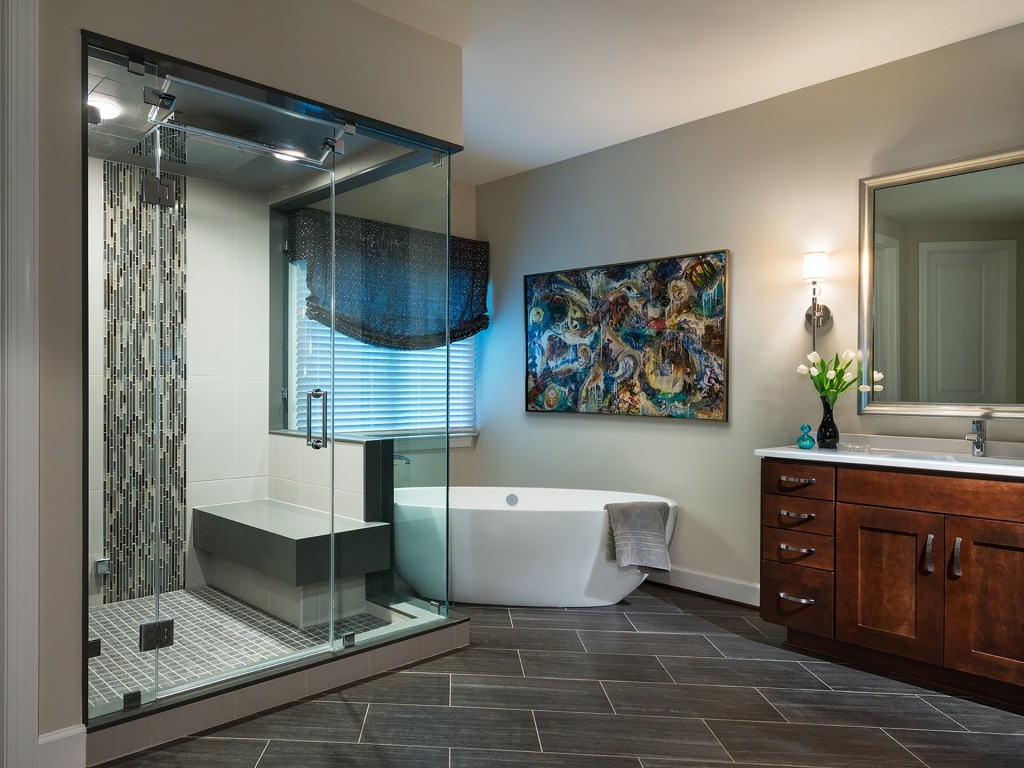 The Owner's Bath with Free-standing Tub and Steam Shower in a Gulick | One home on Innsbruck Avenue. © Hoachlander-Davis Photography. All Rights Reserved. Used with Permission.